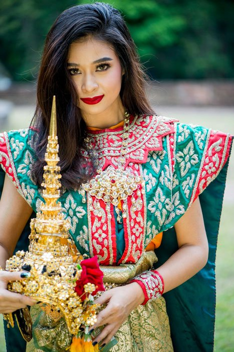 Thai model in traditional costume