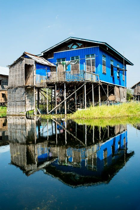 Blue house and reflection at Inle lake, Myanmar