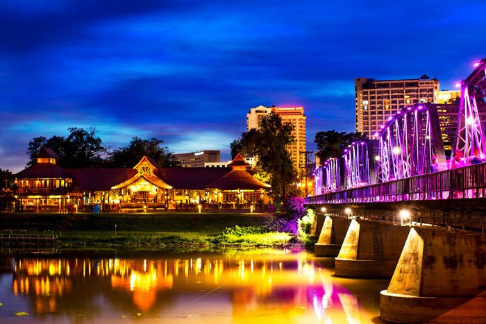 Ping River and Iron Bridge in Chiang Mai at night
