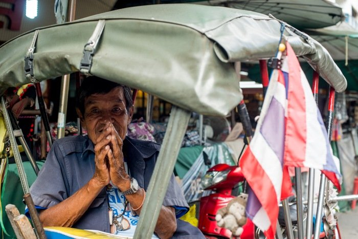 Tips For Travel Photography etiquette in Thailand. Samlor Tricycle Taxi