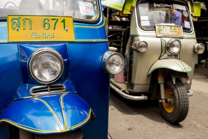 Tuktuks, Temple, Monks and Markets​. Tuktuks Close Up © Kevin Landwer-Johan