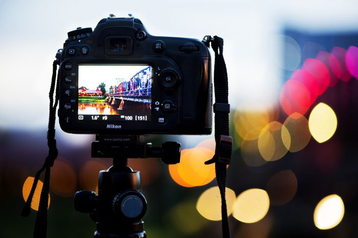 DSLR Camera Monitor in the evening