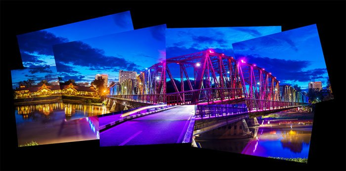 photomontage of the Iron Bridge in Chiang Mai, Thailand