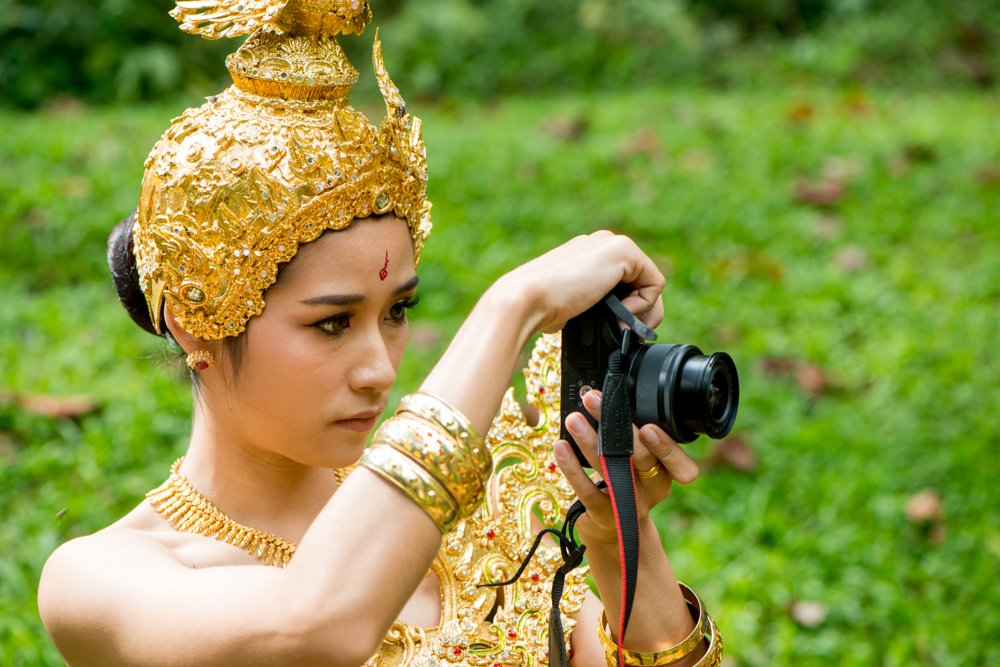 Thai female Model Taking a Photo