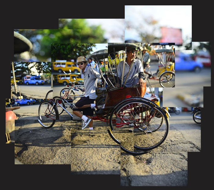 photomontage of a tricycle taxi in Chiang Mai, Thailand