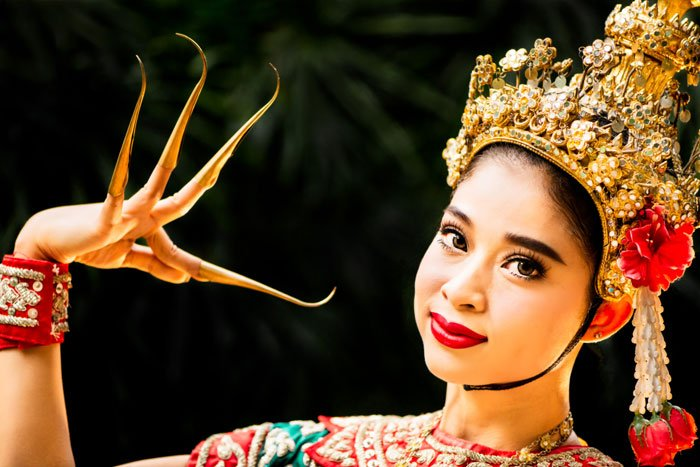 Thai Model with Extended Fingers
