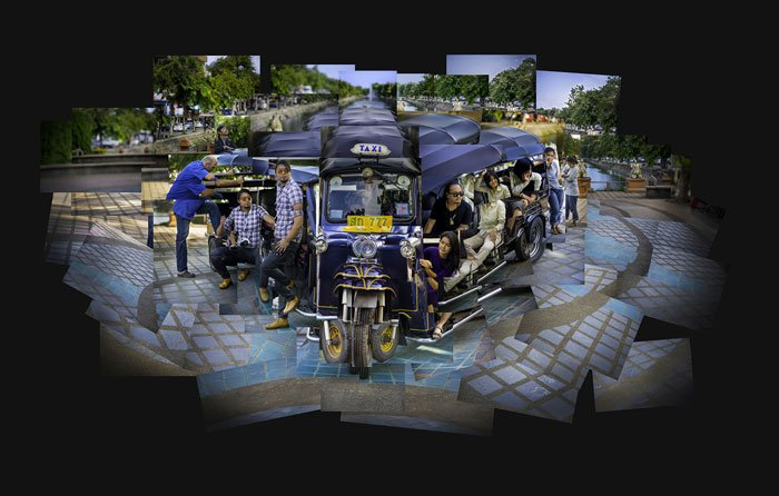 photomontage of people in a tuktuk in Chiang Mai, Thailand