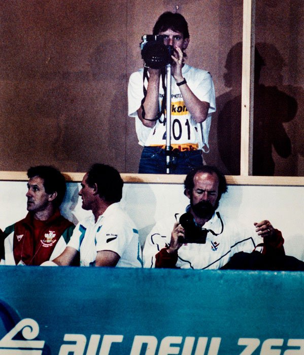 Photographer Kevin Landwer-Johan Working at the Commonwealth Games 1990