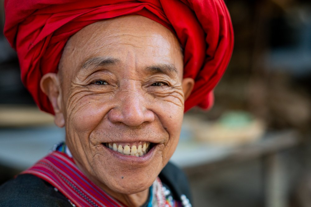 Old Lahu man portrait with a big smile