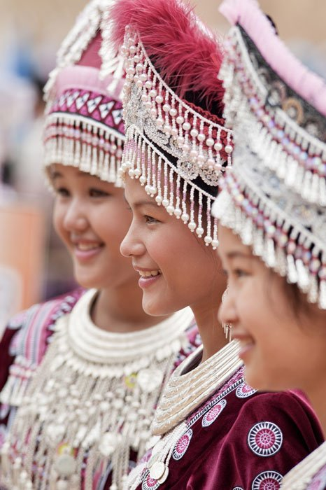 Traditionally dressed Hmong girls photographed during a Chiang Mai Photo Workshop