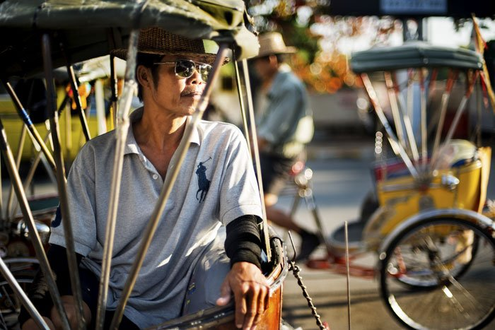Tricycle Taixs Action Portrait taken during a Chiang Mai Photo Workshop