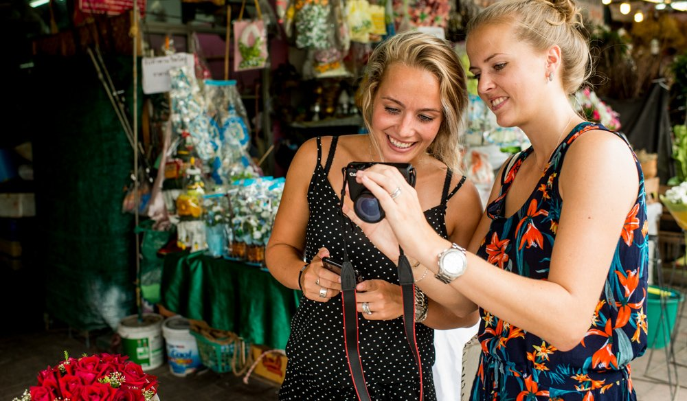 Two girls taking a Chiang Mai Photo Workshop