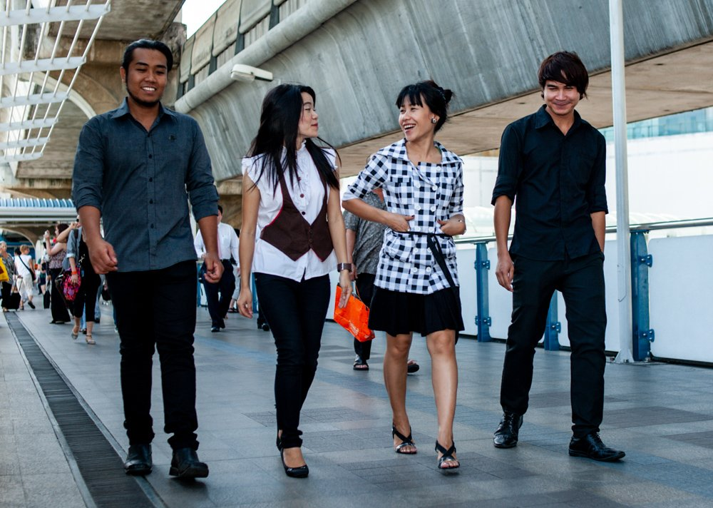 Four young Thai people in Bangkok